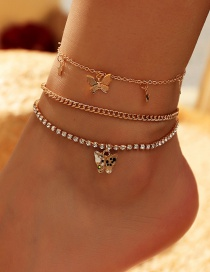 Fashion Transparent Butterfly Alloy Multilayer Anklet With Diamond Chain