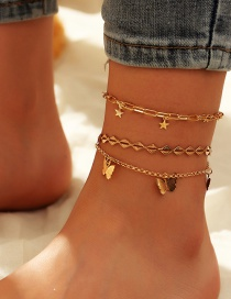 Fashion Golden Geometric Butterfly Five-pointed Star Alloy Multilayer Anklet