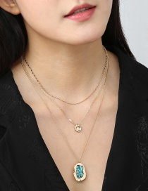 Fashion Golden Natural Turquoise Geometric Pearl Multi-layer Necklace