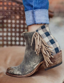 Fashion Gray Tassel Stitching Thick Mid-heel Ankle Boots (3-5cm)
