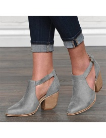 Fashion Dark Gray Hollow Belt Buckle Pointed Suede Chunky Heel Ankle Boots