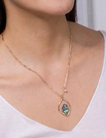 Fashion Diamond Shaped Natural Abalone Shell Pendant Geometric Necklace