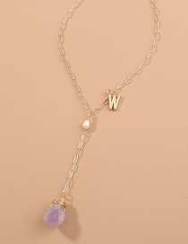 Fashion Purple Madonna Cross Geometric Pearl Stitching Multilayer Necklace