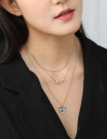 Fashion Abalone Shell Love Alphabet Alloy Pearl Geometric Multi-layer Necklace