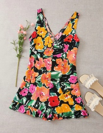 Fashion Suit Floral Print Deep V-neck Jumpsuit