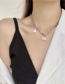 Fashion White Irregular Pearl Acrylic Love Thick Chain Necklace