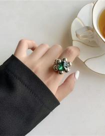 Fashion Silver Handmade Flower And Diamond Ring