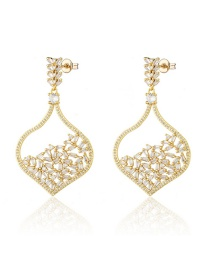 Fashion Golden Gold-plated Zircon Heart-shaped Ear Studs
