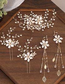 Fashion Golden Handmade Beaded Pearl Flower Drop Oil Alloy Hairpin Ear Clip Hair Band Set