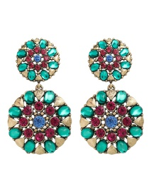 Fashion Green Round Alloy Earrings With Diamond Flowers