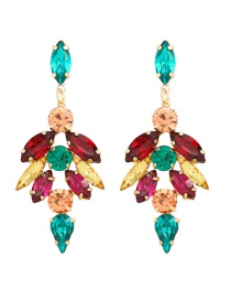 Fashion Color Geometric Earrings With Alloy Diamonds
