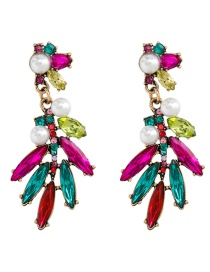 Fashion Color Pearl Alloy Earrings With Colored Diamonds