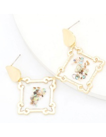 Fashion Square Geometric Resin Pearl Earrings With Alloy Resin