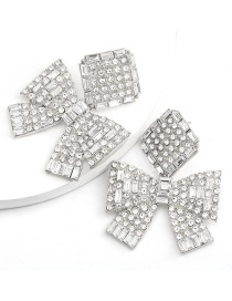 Fashion Silver Square Butterfly And Gold Diamond Earrings