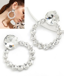 Fashion Silver Round Alloy Earrings With Glass Diamonds