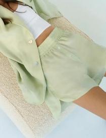 Fashion Green Elastic Waist Solid Color Split Shorts