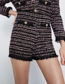 Fashion Black Faux Pearl Tweed Shorts