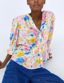 Fashion Color Jewelry Button Print V-neck Blouse