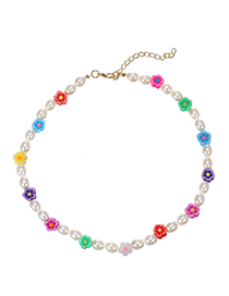Fashion Color Pearl Resin Flower Necklace