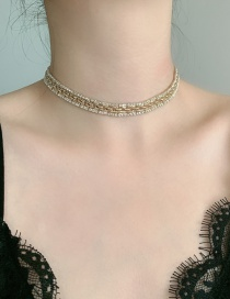 Fashion Golden Chain And Diamond Alloy Necklace