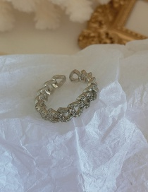 Fashion Silver Micro Diamonds (opening) Micro-diamond Chain Alloy Hollow Ring
