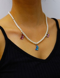 Fashion Pearl Chain Pearl Butterfly Alloy Multilayer Necklace