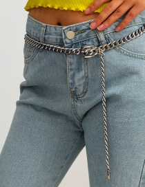 Fashion White K Thick Chain Belt Buckle Alloy Belt