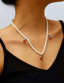 Fashion White K Pearl And Cherry Alloy Pendant Necklace