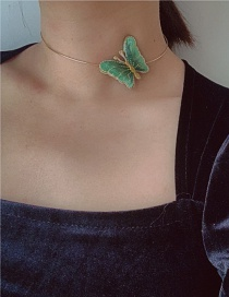 Fashion Green Butterfly Bronzing Alloy Necklace