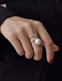 Fashion Gold (adjustable) Pearl Open Spiral Alloy Ring