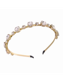 Fashion White Geometric Alloy Thin-edged Headband With Glass Diamonds