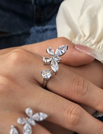 Fashion Single Butterfly Zircon Butterfly Alloy Open Ring