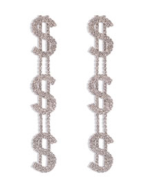 Fashion White K Alloy Letter Long Earrings With Diamond Claw Chain