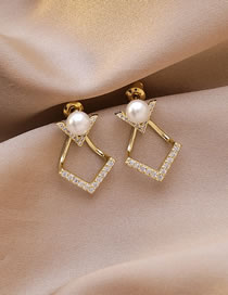 Fashion Golden Diamond-studded Pearl Alloy Geometric Earrings