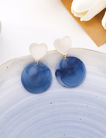 Fashion Haze Blue Opal Love Geometric Round Color Contrast Earrings