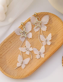 Fashion Pink Diamond Pentagram Lace Butterfly Long Earrings