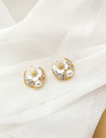 Fashion White Pearl And Diamond Flower Round Alloy Earrings