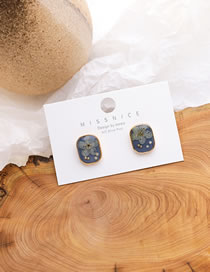 Fashion Blue Resin Flower Alloy Geometric Earrings