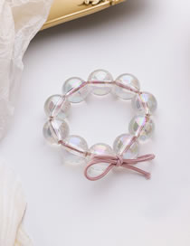 Fashion Pink Laser Transparent Beads Handmade Beaded Hair Rope