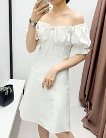 Fashion White Puff Sleeve Off-the-shoulder Lace-up Pleated Dress