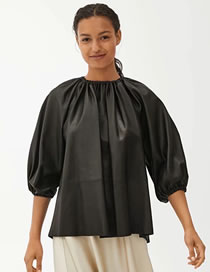 Fashion Black Round Neck Pleated Slip-shoulder Loose Leather Top