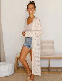 Fashion Beige Hollow Solid Color Knitted Shawl