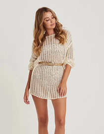 Fashion Beige Long Blouse With Openwork Knit And Belt