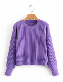 Fashion Purple Round Neck Knitted Pullover Sweater