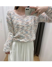 Fashion Color Mixing Mohair Colored Round Neck Knitted Sweater