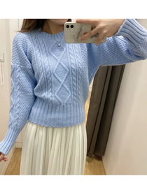 Fashion Blue Twisted Diamond Knit Pullover Sweater