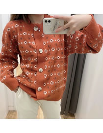 Fashion Brick Red Snowflake Button Knitted Cardigan