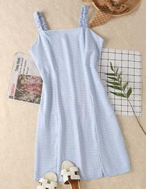 Fashion Blue Grid Check Waist Slit Sling Dress