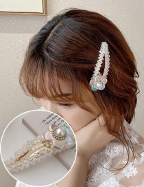 Fashion Flower Hairpin Crystal Beaded Pearl Flower Alloy Hairpin