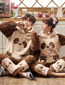 Fashion Bear Brown Mens Coral Velvet Thick Warmth Printing Hooded Home Wear Pajamas